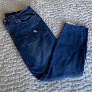 J Crew Distressed Toothpick Cropped Jean 30